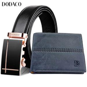 Bộ Thắt lưng nam Ví nam da cao cấp DODACO DDC109 (Vàng xanh)
