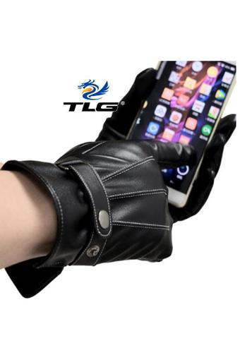 Găng tay da cao cấp có cảm ứng lót nhung ấm áp Đồ Da Thành Long TLG 206008-2(đen)