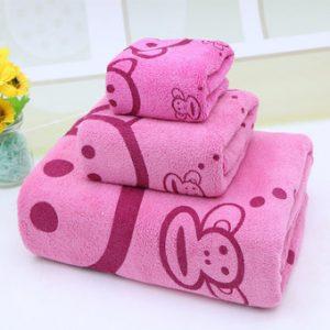 Bộ 3 khăn tắm - khăn mặt - khăn lau (Hồng)