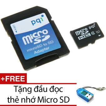 Thẻ nhớ 16GB tốc độ cao 90MB/s Micro SDHC PQI U1C10 và Adapter + Tặng 1 đầu đọc thẻ nhớ