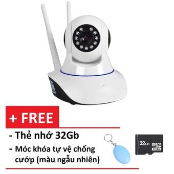 Camera giám sát và báo động 2 ăng-ten IP PK11 (Trắng) + Tặng thẻ nhớ 32G và Móc khóa chống cướp màu ngẫu nhiên