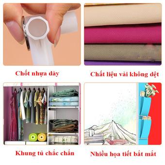 Tủ vải quần áo họa tiết 3D - BQ147-XANHDUONG (Xanh dương)