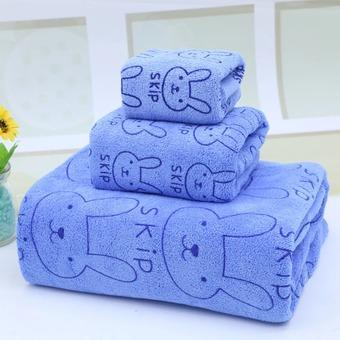 Bộ 3 khăn tắm - khăn mặt - khăn lau (Xanh)