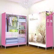 Tủ vải quần áo cao cấp kiểu dáng 3D - BQ147-HONG (hồng)