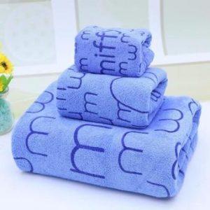 Bộ 3 khăn tắm - khăn mặt - khăn lau (Xanh) (Xanh dương)