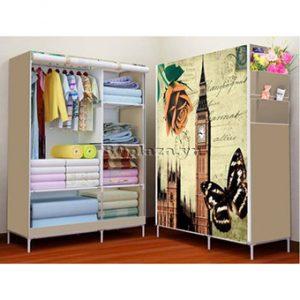Tủ vải quần áo cao cấp kiểu dáng 3D - BQ147-NAUVANG (Nâu vàng)