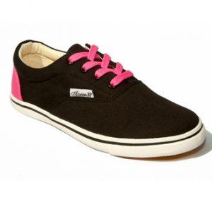 Giày vải nữ cột dây Aseco phối gót hồng Aquasportswear (Đen)