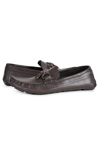 Giày lười nam chuông sần đục lỗ ADEP GL032N (Nâu)